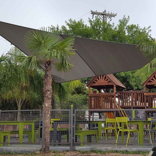 photo of shade sail structure